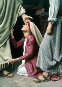 Woman touching robe of Jesus