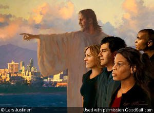 Christ points the way for young men and women all in profile facing left. Symbolic imagery for hope-future-guidance-etc., with shoreline, city, mountains and dramatic sky as backdrop.
