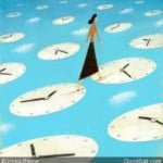 Woman Walking over Clocks