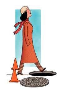 distracted woman steps into manhole