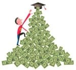 Man Climbing Pile of Money to Graduation Cap