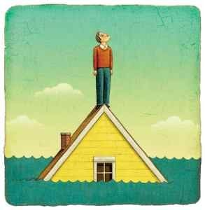 Man Standing on Rooftop in Flood