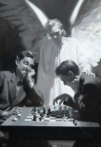 Devil playing young man in chess with guardian angel looking on. Black and white. Harry Anderson painting.