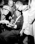 Views of Rev. Martin Luther King, as he was stabbed in chest with letter opener.