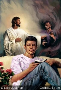 Jesus keeping the devil away as a teenage boy reads the Bible.