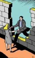 Woman Helping Man Through Gap in Wall