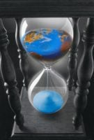 An hourglass pouring the world into the lower section.