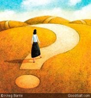 Woman on path the shape of a questio mark