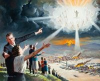 The Appearing. Vintage painting showing the second coming of Christ to rescue His people.