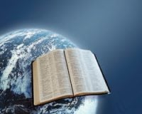 The Word and World: open Bible against a background of the world
