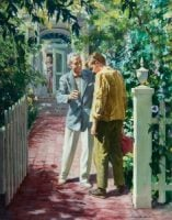 A modern rendition of the prodigal son returning to the open arms of his father. His mother waves in the background. Front yard of house with white picket fence and open gate. Harry Anderson painting.