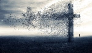 The cross is falling apart into the shape of a dove