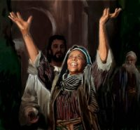 A woman holding up her arms in praise, after Jesus heals her.