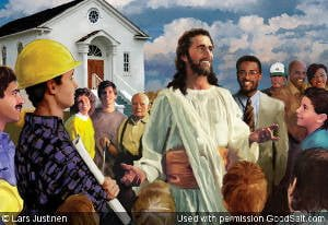 Jesus outside of church with common people