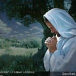 Jesus praying in an olive grove at nigh