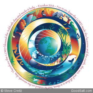 Creation, represented in concentric circles, with an African Adam and Eve.