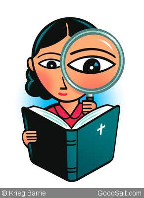 Girl Studying Bible with Magnifying Glass