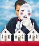 Man with mask and churches
