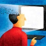 Man's Head Pixelating and Disappearing As He Works on Computer