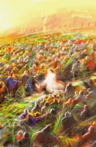 Jesus riding a donkey, surrounded by many people.