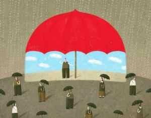 Man under a Large Red Umbrella