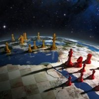 The world laid out as a chess game, with two kings leading their armies.