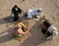 Job and friends in desert