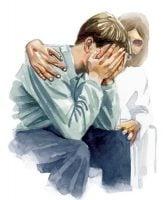 Jesus comforting man