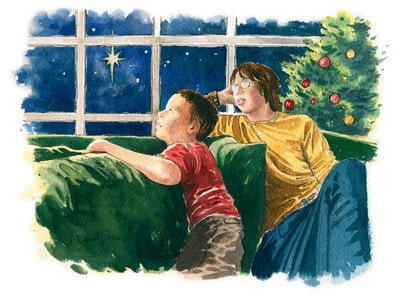 Boys gazing at starry Christmas sky