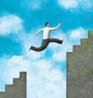 Man leaping on stairs.