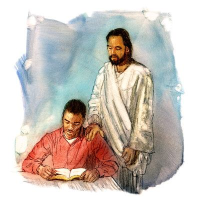 Jesus Watching a Man Reading Scripture