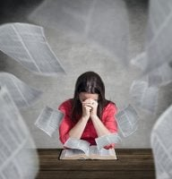 Woman Praying Over Scripture