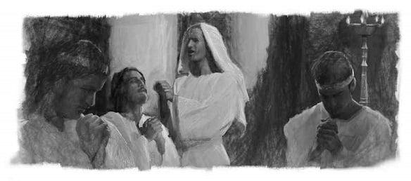 Daniel and men praying