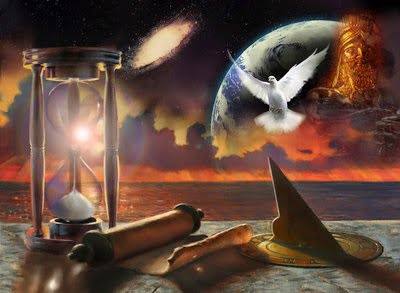 Dove, earth, scroll, hourglass, sundial, sit on a stone table, with babylon statue image, the earth, the ocean and the galaxy in the background