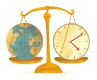 Globe of Earth and a Clock on a Scale