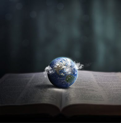 Earth Resting on Open Bible