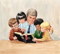 Teacher with Four Children Reading Bible