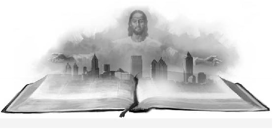 Jesus' Arms Stretched Over Cityscape and Bible