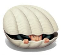 Man Hiding in Clam Shell