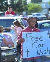 Church Kids Washing Cars